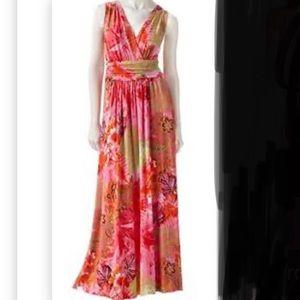 Jennifer Lopez paisley ruched waist maxi dress
